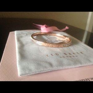 Rose Gold Clem Narrow White Crystal Bangle - TB